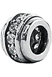 Zable Sterling Silver Barrel with CZs Bead