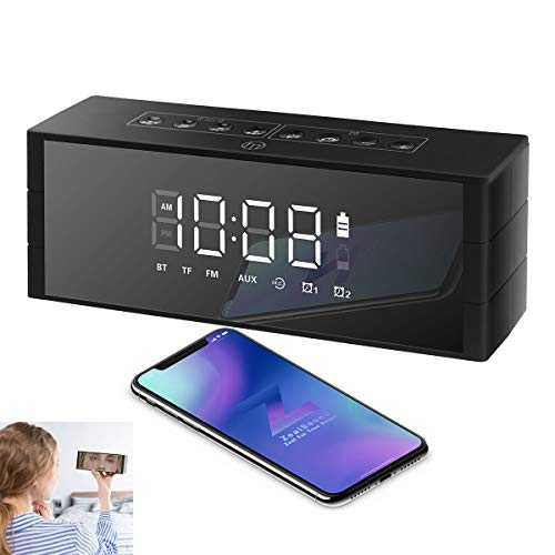 Bluetooth Speaker Led Display, ZealSound Alarm Clock 10W Bluetooth Wireless Speaker with LED Clock, FM Radio, Big Sound, Bass and Large Dimmable Display,4000mAH Long Battery 24 Hours Playtime (Black) ()