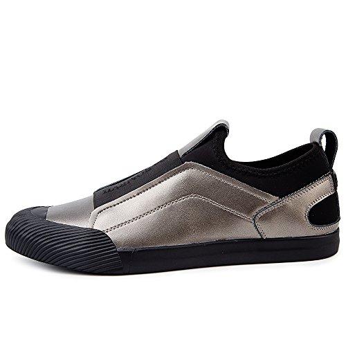 VILOCY Herren Atmungsaktiv Leder überstreifen Schuhe Mode Sneaker Halbschuhe Komfort Sport beiläufig Trainers Schwarz 39 2aJEdYlu