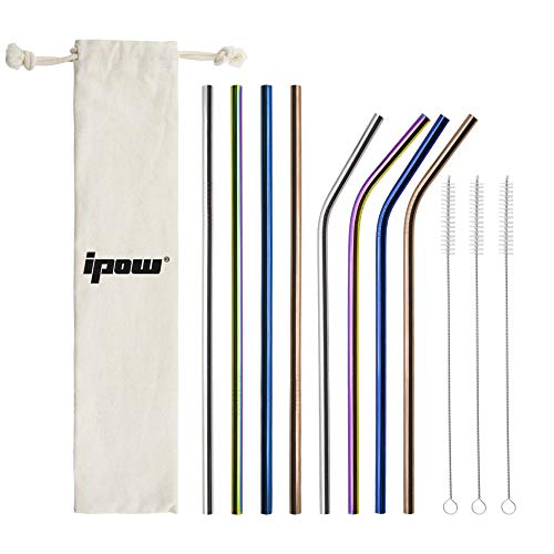 [8 개 세트] IPOW 스테인레스 빨대 반복 가능 빨대 에코 마이 스트로 머들러 스테인리스 화려한 패션 청소용 브러쉬 + 수납 주머니 부착