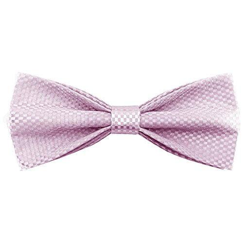Bow Pink 24' (Mens Adjustable Pre Tied Bowties Classic Plaids Solid Bow Tie for Wedding (Pink))