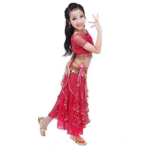 Sweet Kid Belly Dance Costume Set Girls Stage Performance Dress , rose red , 2