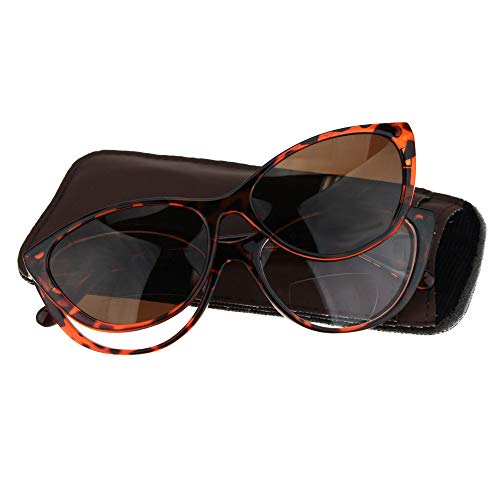 Cateye Magnetic Clip On Polarized Sunglasses On Bifocal Reading Glasses Tortoise +1.0 Brn 1 Brown Sunglasses