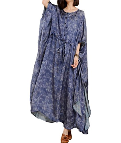 Womens Printed Silk Dress (Yesno JO4 Women Long Loose Printed Dress 100% Silk Bohemia Plus Size Kimono Sleeve Drawstring Waist Flutter Sides)