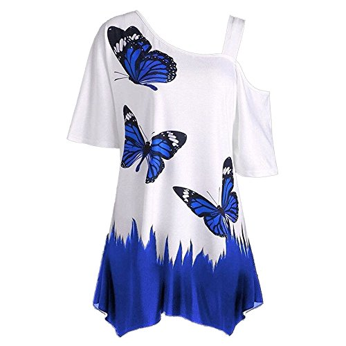 ERLOU Women Loose Short Sleeve Casual T-Shirt Large Size Tops Butterfly Printing Slanted Shoulder Blouses Fashion 2019 (M, Dark Blue)
