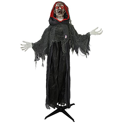 Animatronics (Halloween Haunters Life-Size Animated Standing Scary Reaper of Death Prop Decoration - Evil Face, Red Light Up Eyes - Animatronic Head & Arm Motion - Battery Operated)