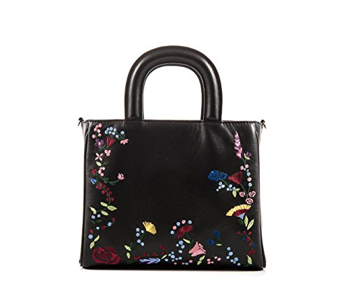 Letizia - Black - bestickte Ledertasche - PassioneBags - Made in Italy