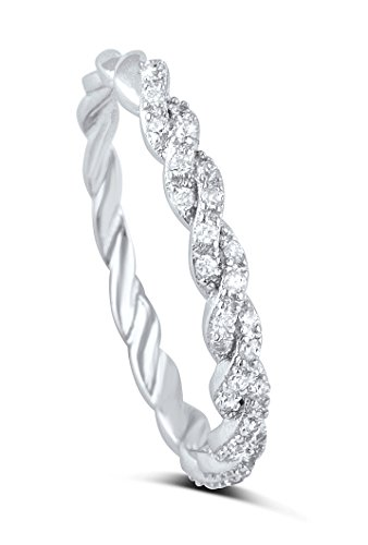 [Sterling Silver Simulated Diamond Twisted Design stackable Ring (8)] (Twisted Stackable Sterling Silver Ring)