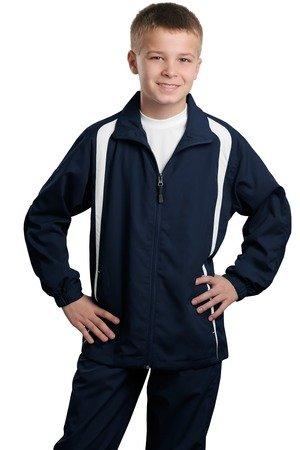 Sport-Tek Youth Colorblock Raglan Jacket, True Navy/White, Large