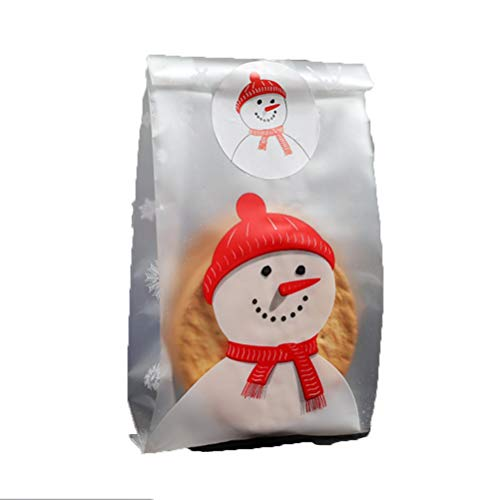 1 Mil Clear Patch - SCHOLMART Clear Flat Cello Cellophane Gift Bags for Bakery, Cookies, Candies, Dessert, Christmas Snowman, Buddies Holiday, with Santa Claus Stickers (50 Pack) (3 x 6 Inch, Snowman)