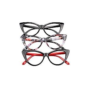 SOOLALA Ladies 52mm Lens Fashion Designer Cat Eye Reading Glasses Customized Strengths, 3mix, x4.0