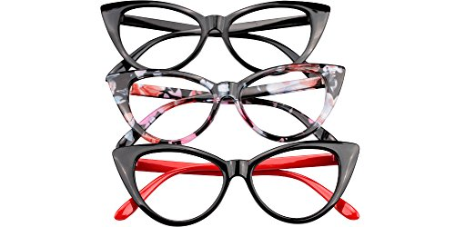 SOOLALA Ladies 52mm Lens Fashion Designer Cat Eye Reading Glasses Customized Strengths, 3mix, x4.0