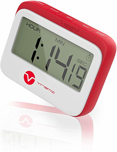 Vremi Digital Kitchen Timer Magnet - Loud Magnetic Kitchen Timer Clock with Alarm and Large Display in Cute Retro Shape - 60 Minute 24 Hour Electric Timer with Stopwatch - Red