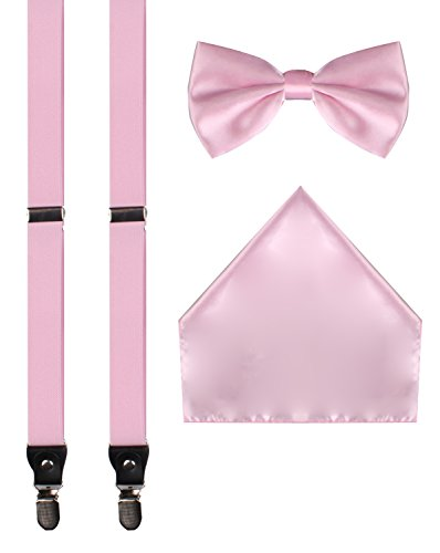 [ORSKY pink bow tie mens suspenders with clips pink suspenders pink bowtie Pink] (Pink Man Suit)