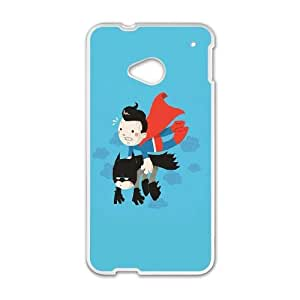 HTC One M7 Cell Phone Case White Superman Carrying Batman LSO7712044