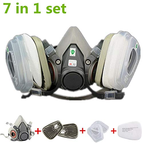 Muhubaih 7 in 1 half Face Respirator Mask For 6200 Gas Painting Spray Dust Protector Respirator Set
