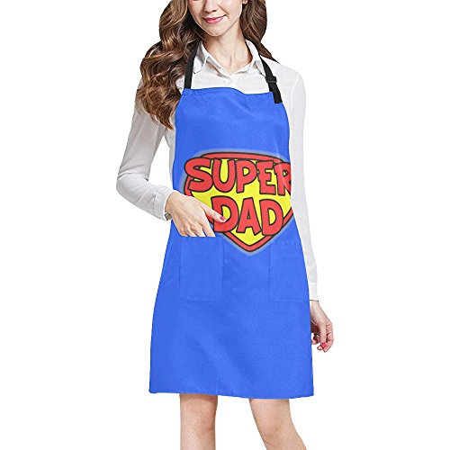 InterestPrint Funny Father's Day Gift Apron Super Dad Chef Kitchen Apron with Pockets, Adjustable Strap & Waist Ties for Dad Daddy, Large Size