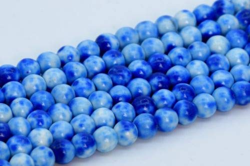 4mm Blue Rain Flower Jade Beads Grade Round Gemstone Loose Beads 15.5'' Crafting Key Chain Bracelet Necklace Jewelry Accessories Pendants