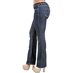 Poetic Justice Women's Curvy Fit Blue Stretch Denim Basic Slim Skinny Bootcut Jeans Size 27 x 33Length