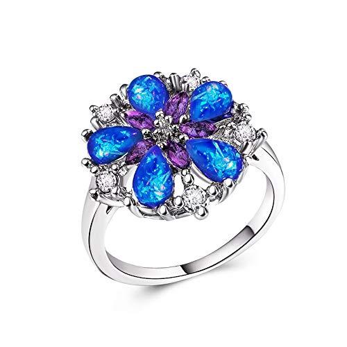 Blue MGZDH Womens Eternal Ring Creative Accessories Beautiful Artificial Opal Ring Ring 7