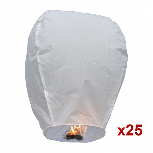 25pc White Sky Fire Chinese Lanterns Flying Paper Wish Balloon for Wedding Festival Christmas Party, Outdoor Stuffs