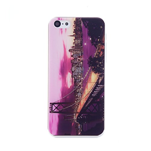 CaseBee® - Golden Gate Bridge Night View From Top iPhone 5C Case (Package includes Screen Protector) (San Francisco View)
