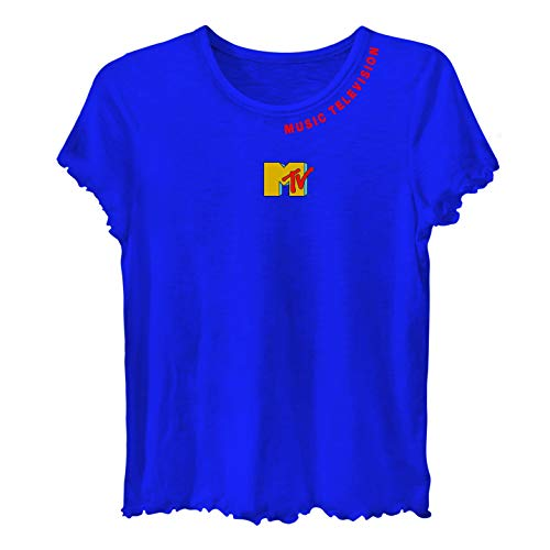 Lettuce Edge Shirt - MTV Ladies Short Sleeve Shirt - #TBT Ladies 1980's Clothing - I Want My Logo Lettuce Edge Short Sleeve Tee (Navy, Small)