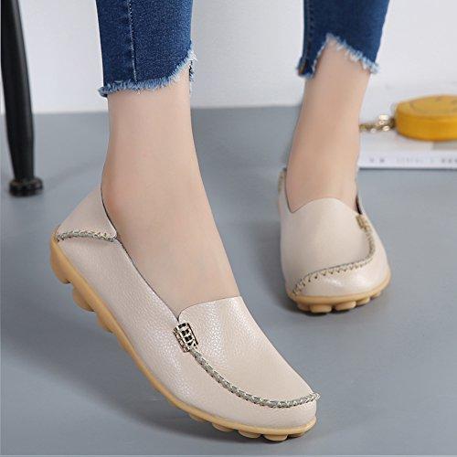 SHIBEVER Damen Leder Loafers Schuhe Wild Driving Casual Wohnungen Beige