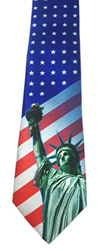 Stonehouse Collection Men's Patriotic Tie - American Flag Tie - 4th of July Tie