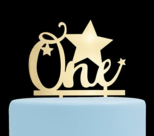 (One with Stars Cake Topper, 1st Birthday Cake Topper, First Birthday Party Decorations)