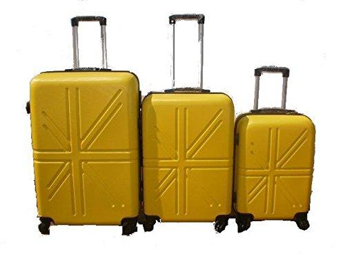 Set 3 Trolley rigide in ABS e policarbonato 4 ruote piroettanti colori vari (Giallo)