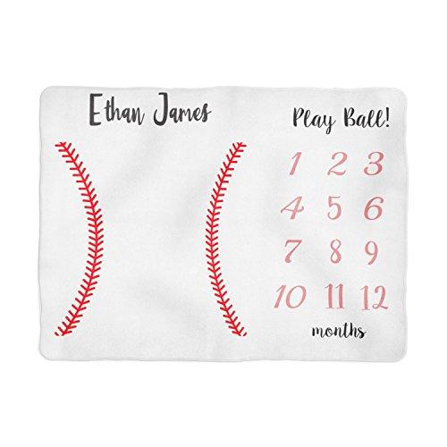 Blankie Personalized - Emily gift Baseball Baby Milestone Blanket, Baby Boy Blanket, Personalized Baby Blankie, Monthly Baby Blanket, Baby Boy Blankie, Baby Sports Blanket (30x40)