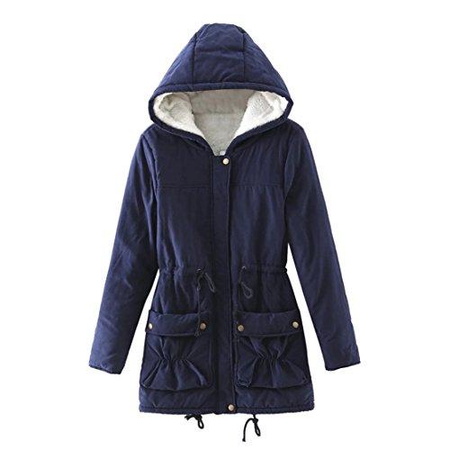 NEW MOSE Fashion Women Plus Size Warm Plush Faux Fur Hoodies Collar Jacket Slim Winter Parka Outwear Long Coats (XXL, Navy) Coat Of Arms Issue