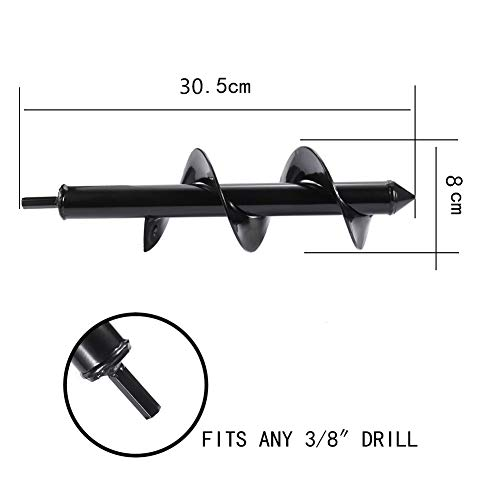 Auger Drill Bit for Planting 3x12inch Solid Shaft Garden Plant Flower Bulb Auger Rapid Planter Bulb Bedding Plant Auger for 3//8 Hex Drive Drill Earth Auger Drill Fence Post Umbrella Hole Digger