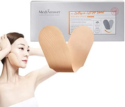ABOUT ME MediAnswer Collagen Lift-Up Band (4ea) - Excellent Elasticity Facial Collagen Lifting Patch, Tightly Contouring Chin Line, Skin Resilience, Reduces Double Chin, V Line, Chin Up