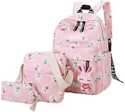 ABage Girls  Canvas Backpack Set 3 Pieces Patterned Bookbag Laptop School  Backpack d0158371ce8f9