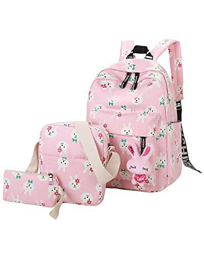 ABage Canvas Backpack Set 3 Pieces Patterned Bookbag Laptop School Backpack, Light Pink2