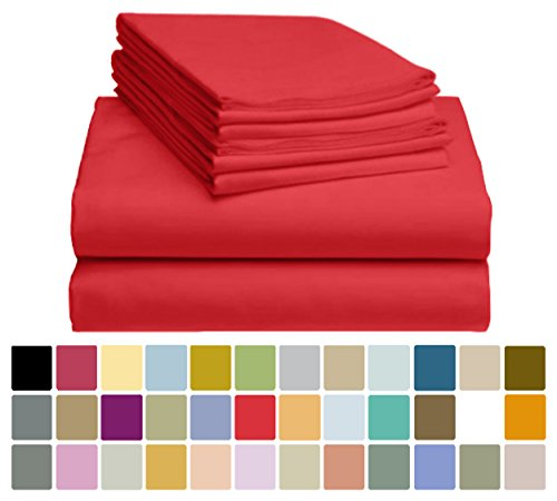 "6 PC LuxClub Sheet Set Bamboo Sheets Deep Pockets 18"" Eco Friendly Wrinkle Free Sheets Hypoallergenic Anti-Bacteria Machine Washable Hotel Bedding Silky Soft - Red King"