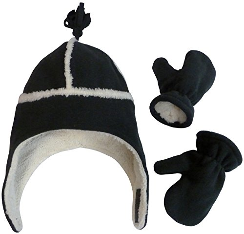 69123d2955a54 N Ice Caps Kids Unisex Sherpa Lined Micro Fleece Hat And Mitten Set (18-36  Months