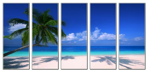 Tropical beach print on canvas, seascape canvas art prints, beach wave canvas print,  framed and ready to hang, home and office beach décor, beach canvas designs, 5 panel print, ocean wall art by Vibrant Canvas Prints