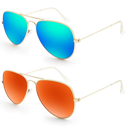 Livhò G Sunglasses for Men Women Aviator Polarized Metal Mirror UV 400 Lens Protection (Blue Green+Golden Red) (Mirrored Aviators Red)