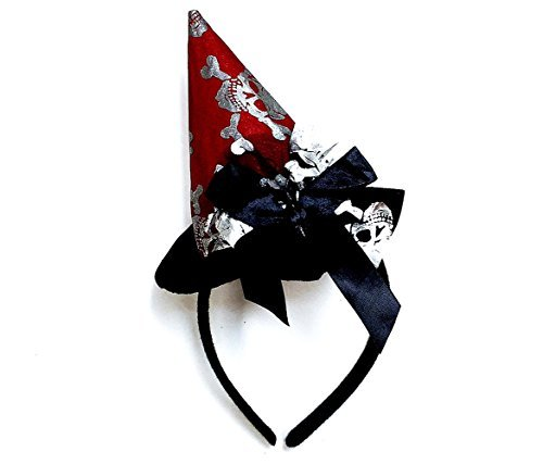 Mozlly Red Wicked Witch Skulls and Crossbones Hat Halloween Headband - Pretend Play Dress Up - Item #110120