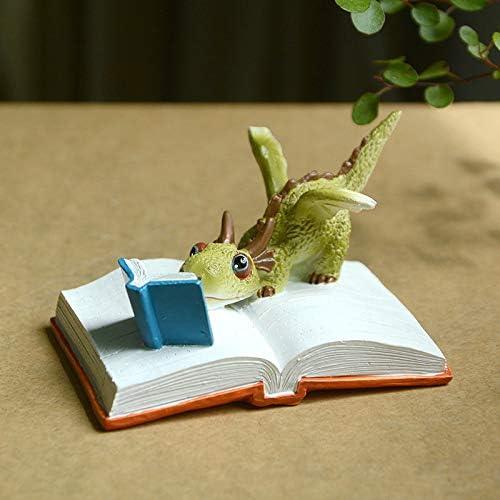 本を読んで樹脂恐竜飾り漫画スタイルホームガーデン人形ミニかわいい漫画装飾,C