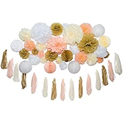 "46 Pcs Tissue Paper Pom Poms Tassel Kit Paper Flowers Paper Lanterns and Honeycomb Balls for Wedding Bridal Shower Birthday Party Baby Nursery Decor Gold Champagne Peach Ivory White (14"", 10"", 8"", 6"")"