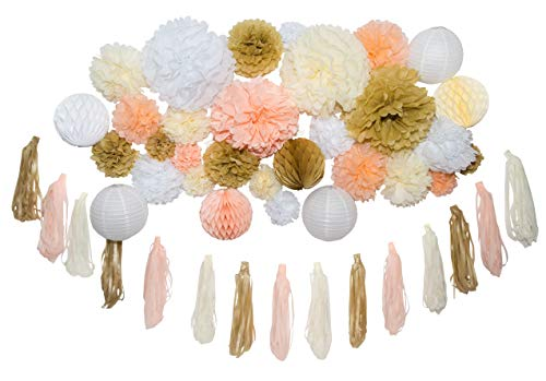 46 Pcs Tissue Paper Pom Poms Tassel Kit Paper Flowers Paper Lanterns and Honeycomb Balls for Wedding Bridal Shower Birthday Party Baby Nursery Decor Gold Champagne Peach Ivory White (14'', 10'', 8'', 6'') by Craft O Party
