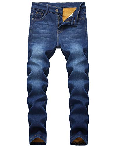 (FREDD MARSHALL Boy's Blue Thermal Fleece Lined Skinny Winter Slim Fit Thicken Stretch Jeans )