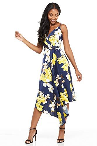 Maggy London Women's Printed Charmeuse Slip Dress, Navy Yellow, 12