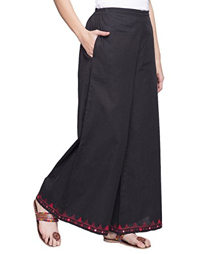 Cotton Embroidered Elasticated Waist Palazzo/S