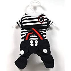 SMALLLEE_LUCKY_STORE Pet Cat Dog Stripes Sailor Strap Jumpsuit Costume Small Dog Clothes Black M