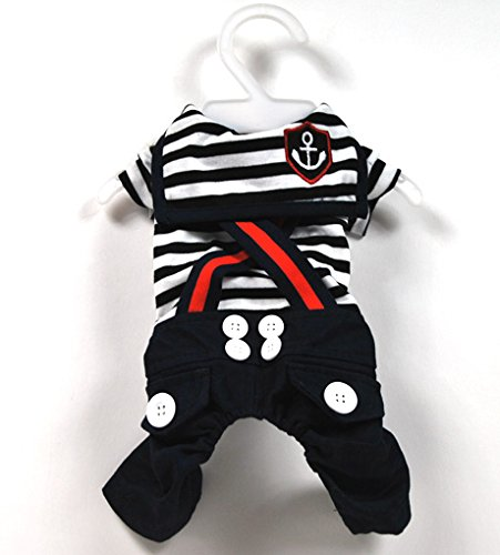 SMALLLEE_Lucky_Store Pet Cat Dog Stripes Sailor Strap Jumpsuit Costume Small Dog Clothes Black L for $<!--$14.08-->